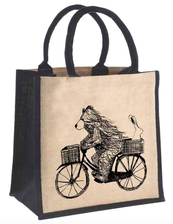 Ours sur vélo bizarre JUCO sac - illustration-écossais par Catherine Redgate