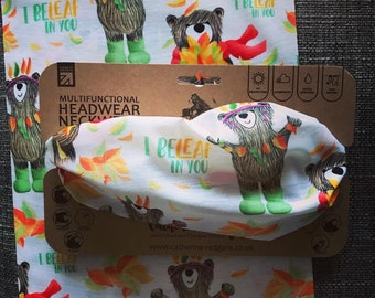 Recycled AUTUMN BEAR headwear outdoor head band biking walking hike Catherine Redgate face mask covering gift scarf leaf positivity pun cute