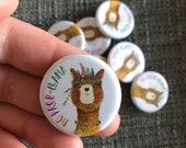 No Prob-llama LLAMA 32mm button badge Catherine Redgate retro pin metal illustrated positivity adventure cute pun funny probllama problama