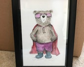SUPERHERO BEAR original framed illustration Catherine Redgate art drawing watercolour painting teddy super cape hero fan superman dress up