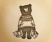 """SHOPPING BEAR wooden rubber stamper 2"""" Catherine Redgate cute stamp stationery letter penpal writing gift shopper addict shop teddy bag"""
