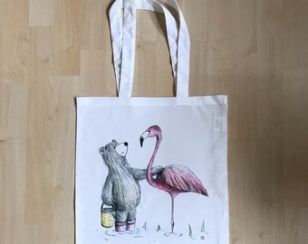 Bear Flamingo TOTE bag - shop - cute - shopper - shoulder - Scottish support humour fun white - Catherine Redgate friends bird pink