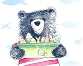 Bear & Fish Greeting Card - blank inside- by Catherine Redgate fathers day male gift box crate illustration ocean fishing sea sailor whimsy