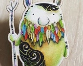 TRIBAL Spirit WOODEN pin badge - by Catherine Redgate - Scottish eco creature sprite beard tribe tattoo bird feather positive