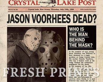 FRIDAY 13TH Crystal Lake Jason Voorhees Mock Newspaper print