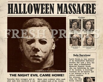 Halloween Haddonfield Michael Myers Mock Newspaper Print