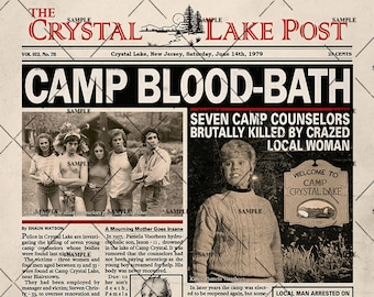 Friday the 13th 1980 Newspaper Poster Print Camp Crystal Lake