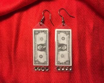 Unique miniature dollar bill earrings with faux diamonds