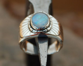 Ethnic type set with a white labradorite sterling silver ring