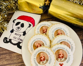 Custom Photo Cookie Gift Box Personalised Photo Biscuits Christmas Biscuit Gifts Isolation Gift Hug by post Christmas Letterbox gift