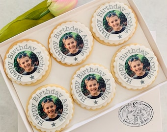 Custom Birthday Photo Cookie Gift Box Personalised Photo Biscuits Isolation  Birthday Gift Hug by post Letterbox birthday gift