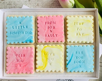 Custom Biscuit Gift box Letterbox Friendly Biscuit Gift Box Personalised Biscuits By Post Isolation Gift Hug by post