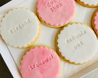 Custom 6 Message Biscuits. Your words on biscuits. Unique personalised biscuit gift box  Isolation Gift Hug by post