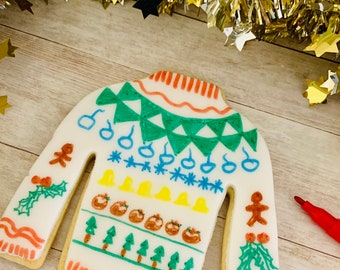 Colour In Your Own Christmas Biscuit Jumper Edible Ink Fun Christmas Cookie Gift Box