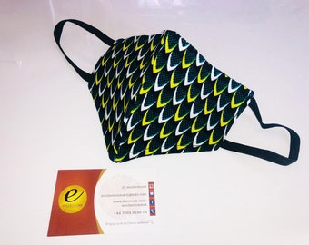 African Print Face Mask (N7| Green/Yellow/White Ankara Face Mask | E Collections ||)
