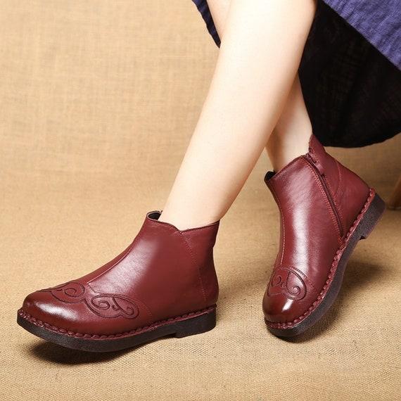 d8516a725a113 Les femmes rétro mode fait à la la la main la cheville bottes ...