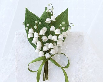 Lily of the valley silk flower brooch