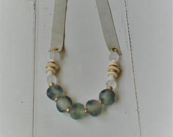 Smoky Blue Sea Glass bead Necklace