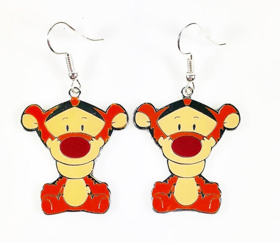 Disney Inspired Winnie The Pooh Piglet Character Head Metal Enamel Stud Earrings Great Gift