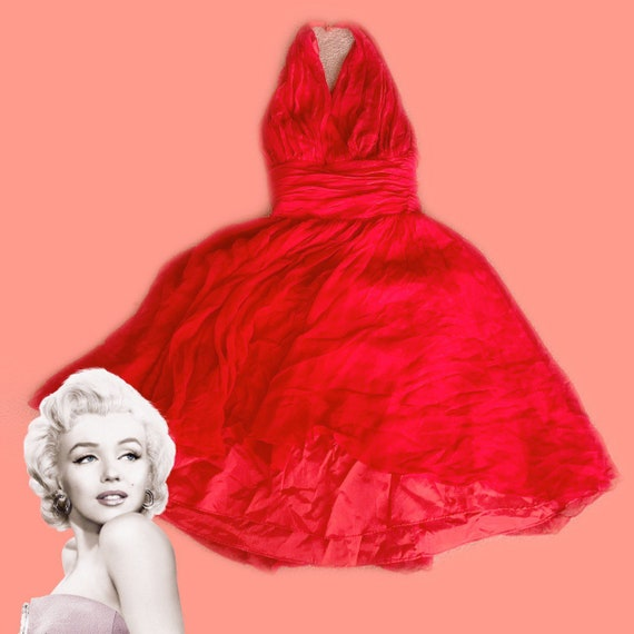 1950s Red Chiffon Halter Marilyn Monroe Dress