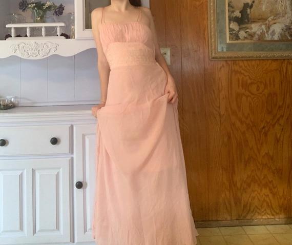 Vintage 1930s Silk Chiffon Pink Gown Dress— Art De