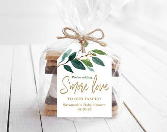 S'more Love Favor Tags, Printable S'more Love Favor Tag Template, Editable, Gender Neutral, Greenery, MCP813, MCP814, CJB