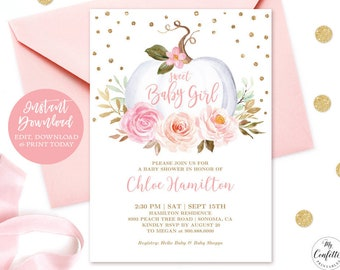 photograph relating to Printable Baby Shower Invitations Girl called Boy or girl shower invitation female Etsy