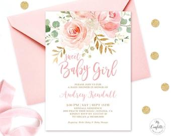EDITABLE Invitation, Blush Pink Floral Baby Shower Invitation, Printable  Baby Shower Invitation Template, Sweet Baby Girl, MCP820