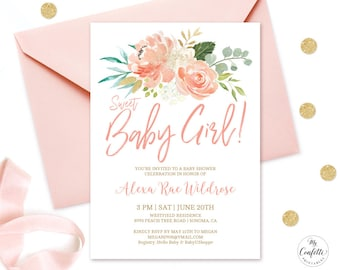 editable invitation peach floral baby shower invitation printable baby shower invitation template peach blush sweet baby girl mcp808