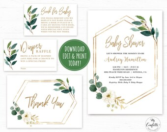 EDITABLE Greenery Baby Shower Invitation Template Printable Bundle Modern Green Gold Neutral MCP813