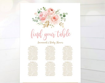 Blush Pink Floral Baby Shower Seating Chart Sign Printable Template For Birthday Girl MCP820 MCP821 MCP830