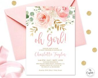 Printable baby shower invitation etsy editable invitation blush pink floral baby shower invitation printable baby shower invitation template blush pink oh girl mcp820 maxwellsz