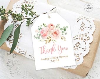 Blush Pink Floral Baby Shower Favor Tags Printable Tag Template Editable Text Girl MCP820
