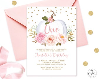 Pumpkin 1st birthday invitation etsy editable pumpkin babys first birthday party invitation printable baby 1st birthday card template blush pink floral girl one mcp827 filmwisefo