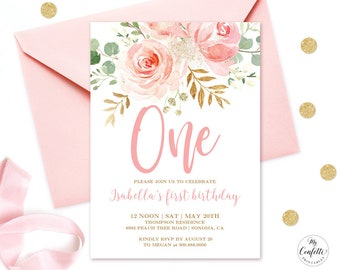 1st birthday invitations etsy editable blush pink floral babys first birthday party invitation printable baby 1st birthday invitation template boho girl one mcp821 filmwisefo