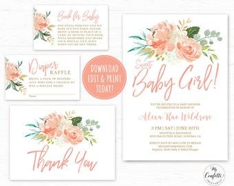 girl baby shower invitations etsy