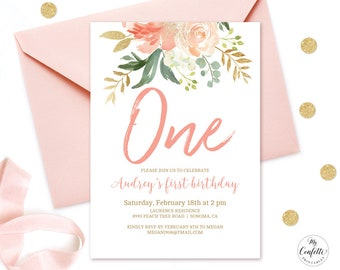 editable blush pink floral baby s first birthday party etsy