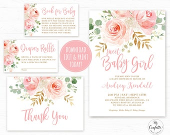 EDITABLE Blush Pink Floral Baby Shower Invitation Template Printable Girl Bundle Boho Sweet MCP820