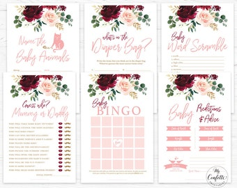 Floral Marsala Table Signs Burgundy Baby Shower Signs Boho Babies Signs Bundle instant download PDF BF1 Baby Shower Package Printable