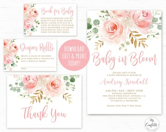 EDITABLE Baby In Bloom Shower Invitation Template Printable Bundle Girl Boho Blush Pink Floral MCP820