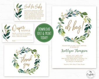 EDITABLE Baby Shower Invitation Template Printable Bundle Greenery Wreath Set Neutral Green Gold Oh Boy MCP814