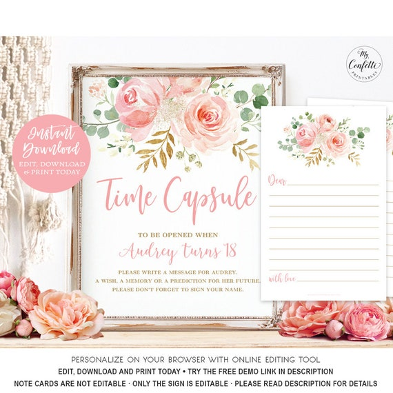 Floral First Birthday Time Capsule Sign and Cards Boho Floral Sign Floral Wreath Sign Printable Time Capsule Sign Girl First Birthday