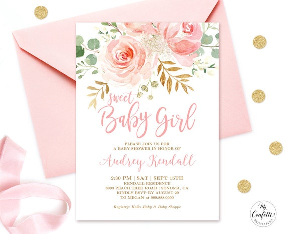 Editable Invitation Blush Pink Floral Baby Shower Invitation Etsy