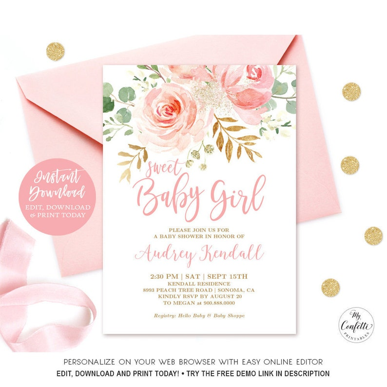 photo about Baby Printable known as Blush Crimson Floral Child Shower Invitation Female, EDITABLE, Printable Woman Kid Shower Invitation Template, Lovable Youngster Woman, MCP820, CJ