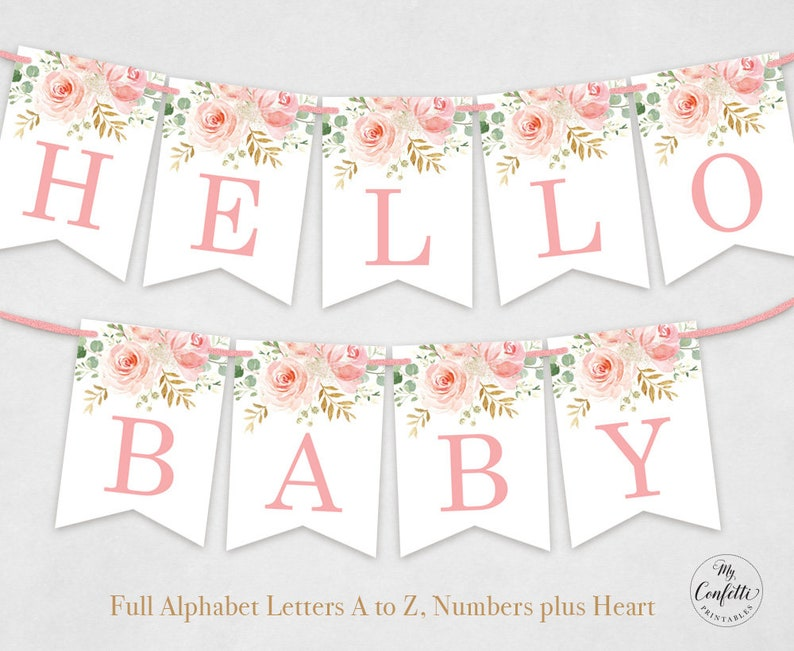 image regarding Printable Alphabet Banner titled Printable Alphabet Banner Fixed, Letters A toward Z, Quantities furthermore Center, Do it yourself Youngster Shower Banner, Birthday, Blush Crimson Floral, Lady, MCP820, MCP821