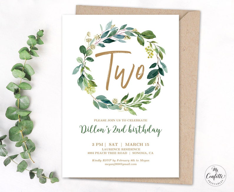 EDITABLE Greenery 2nd Birthday Party Invitation Printable Second