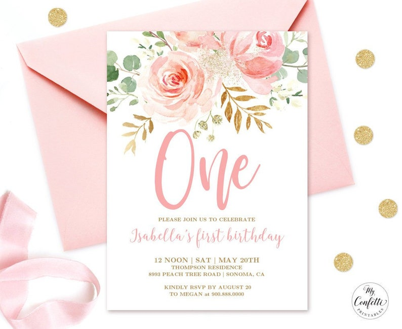 EDITABLE Blush Pink Floral Babys First Birthday Party Invitation Printable Baby 1st Template Boho Girl One MCP821
