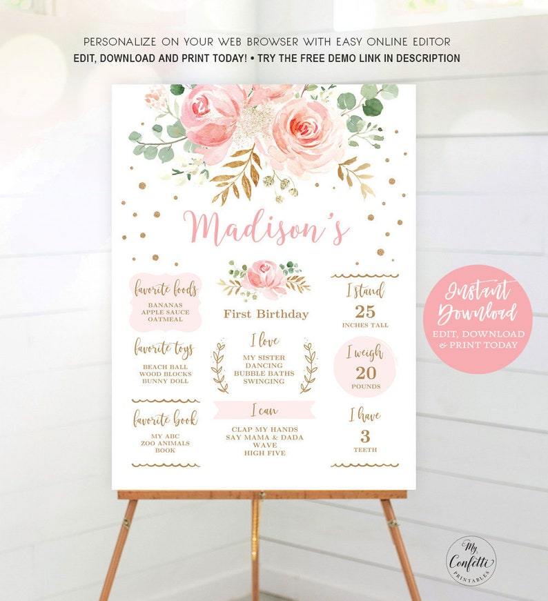 Pink Blush Floral EDITABLE Sign Baby Birthday Milestone Sign MCP821 CJB Baby/'s First Birthday Printable Birthday Milestone Template