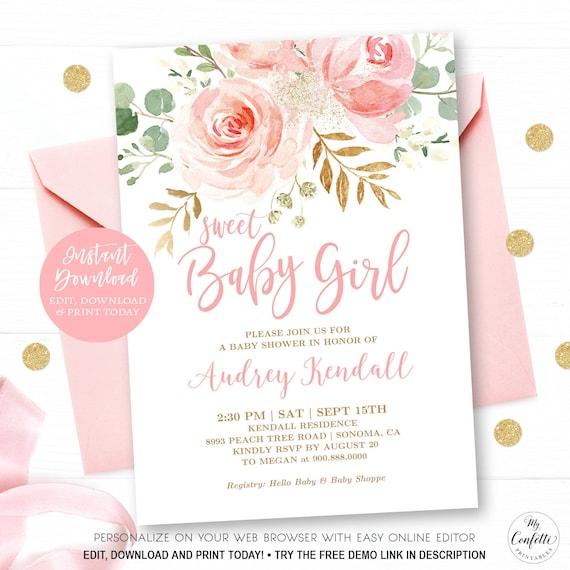 Girl Baby Shower Pretty Baby Shower Invite Boy Baby Shower Printable Elegant Baby Shower Pink Blush Floral Baby Shower Invitation