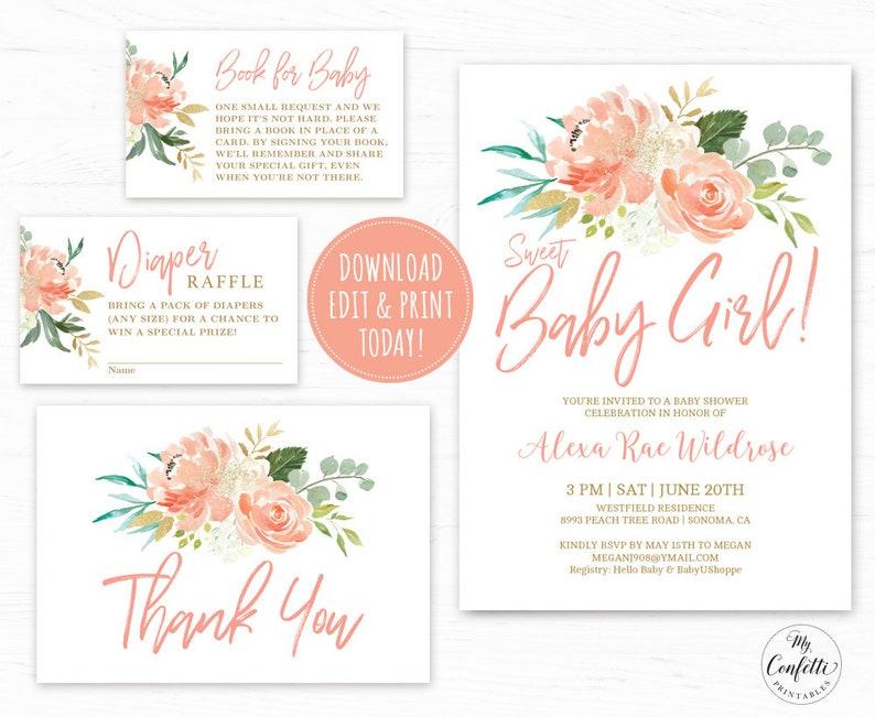 Editable Girl Baby Shower Invitation Template Printable Baby Etsy